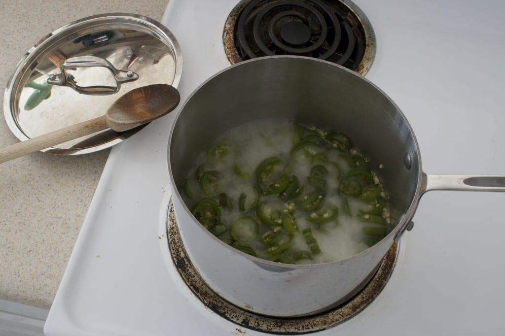 Add jalapeños to pan. Boil 5 minutes, stirring once.