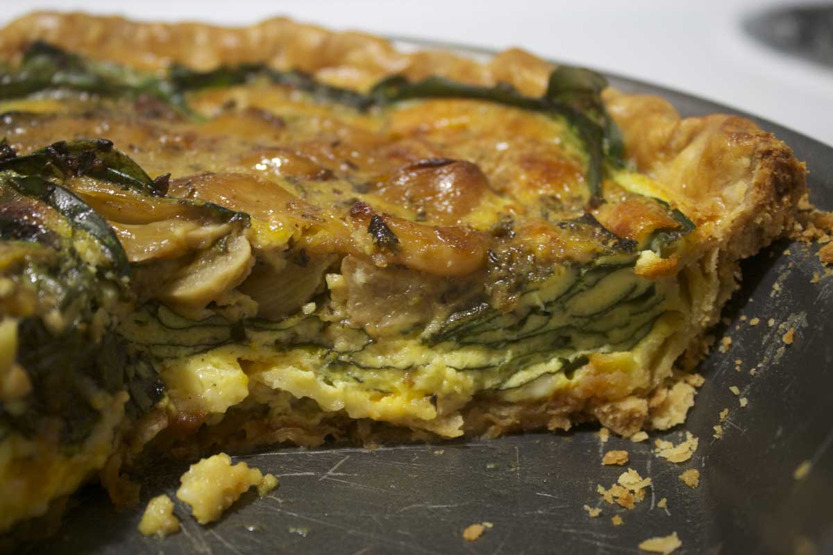 Carmelized Garlic, Spinach, Cheddar Quiche