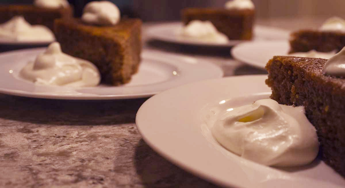 Plated Date Cake with Mascarpone Whipped Cream